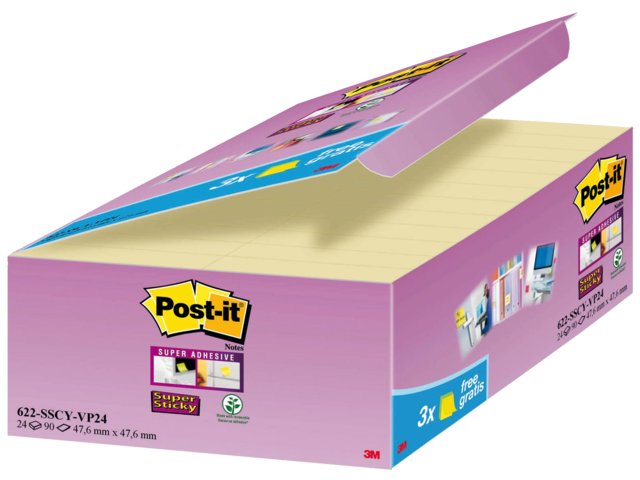 Memoblok 3m post-it 622-p24 super sticky 47.6x47.6mm geel