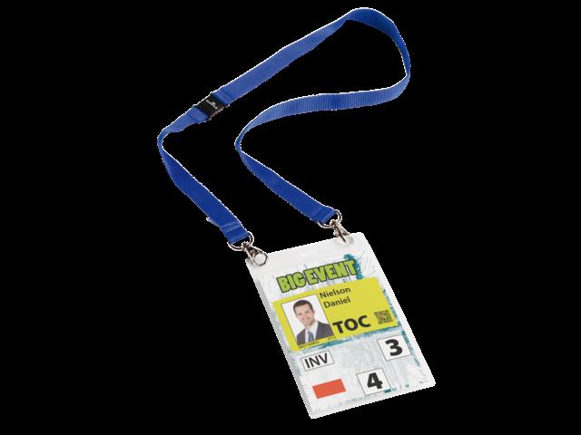 Badge durable 8525 voor evenementen a6 met koord blauw