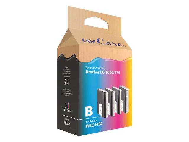Inkcartridge wecare brother lc-1000 lc-970 zwart + 3 kleuren