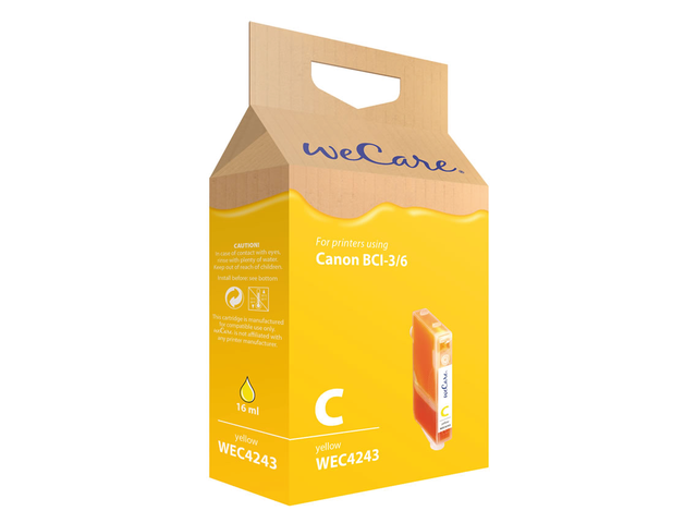 Inkcartridge wecare canon bci-3/6 geel