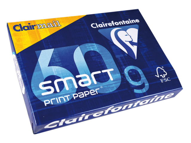 Kopieerpapier clairefontaine clairmail a4 60gr wit 500vel