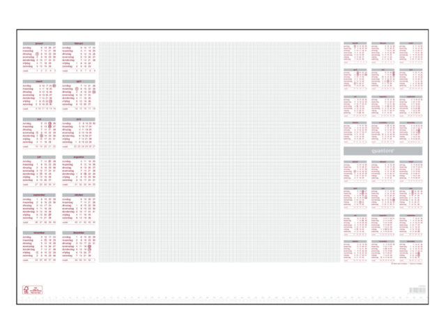 Bureau-onderlegblok 2017 quantore 60x40cm wit