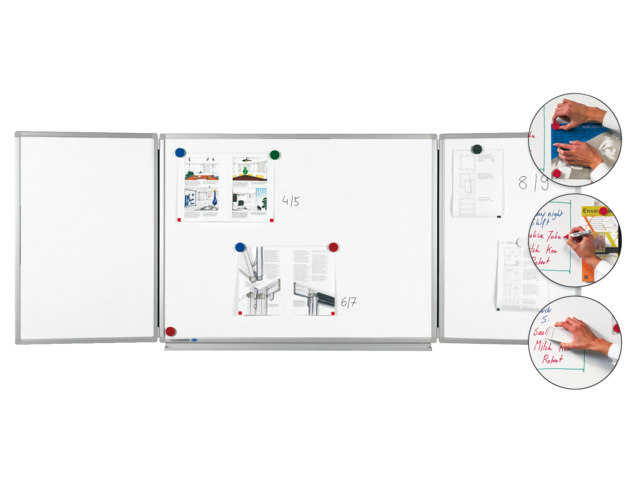 Whiteboard triptiek 90x120cm + 2x 90x60cm magnetisch emaille