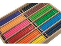 Kleurpotloden 3 kantig Jumbo 12 kl. 144 stuks in houten kist