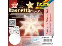 Bascetta-sterrenset, transparantpapier 15 × 15 cm, 32 vel wit 115 grs.