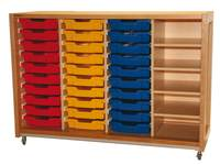 Kast 340 serie houtnerf, 4 kwart legplanken, 30 laden van 7 cm