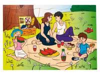 Puzzel aan het picknicken