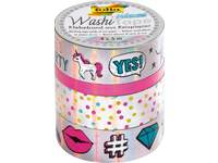 Washi-Tape set van 4,  iriserend zilver