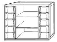 Kast 340 serie wit, 2 halve legplanken, 10 laden van 15 cm