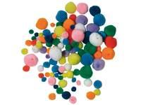 Rijgpompons 4 maten/kleuren 100 stuks