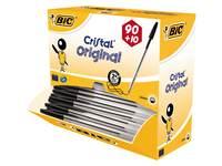 Balpen BIC Cristal zwart Voordeelpak 90 + 10 gratis