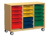 Materiaalkast Basic 105 cm breed, beuken, zonder laden, op wielen