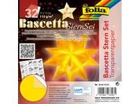 Bascetta-sterrenset, transparantpapier 15 × 15 cm, 32 vel geel 115 grs.