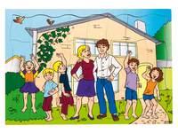 Puzzel familie en hun nieuwe huis