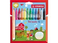 Viltstift Stabilo Trio Jumbo set 12 kleuren