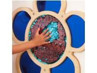 Wandpaneel wrijfplaat bloem blauw