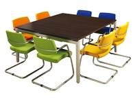 Conferentietafel Arca 160 x 160 cm met zwevend blad, instelb. 62-82 cm