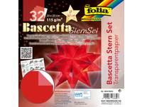Bascetta-sterrenset, transparantpapier 20 × 20 cm, 32 vel rood 115 grs.