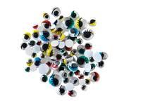 Wackelaugen mit Wimpern, 100 Stück farbig, in 6 Größen sortiert