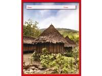 Cahiers 24 lijnen afrikaanse hut FSC rood formaat 16,5x21cm 80 grs.