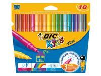 Viltstiften BIC Kids Visa assorti, etui 18 stuks.