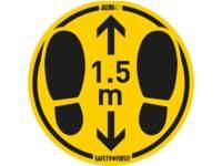 Waarschuwingssticker Voetstappen (ruwe vloer) geel-zwart, 1 st