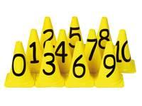 Pionnen kunststof met cijfers, 11 stuks