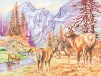 Kleuren op nummer 40 x 30 cm herten