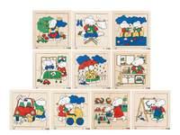 Puzzelserie bezige muizen, 3x4, 3x6 %4x9 stukjes