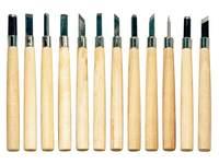 Lino-/Holzschnitzmesser, 12 Stück