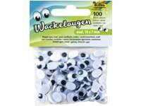 Wackelaugen, 100 Stück, weiß oval 10x7mm