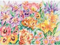 Kleuren op nummer 40 x 30 cm bloemen