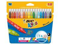 Viltstiften BIC kid couleur assorti, 18 stuks