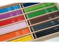 Kleurpotloden 6 kantig standaard 12 kl. 144 stuks in houten kist