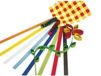 Vlechtstroken 50 x 1,5 cm 60 grs 12-kleuren 480 stroken