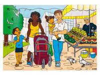 Puzzel familie op de markt