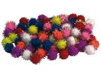 Pompons glitter, 100 stuks in diverse kleuren en maten