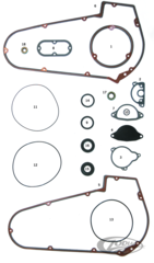 GASKETS, O-RINGS AND SEALS FOR ALUMINUM PRIMARY ON 1965 THRU 1986 4 SPEED BIG TWIN