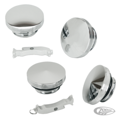 "CHROME BILLET POINTED OR DOMED ""ESSENTIAL"" GAS CAPS"