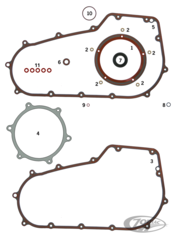 GASKETS, O-RINGS AND SEALS FOR PRIMARY ON 2006-2017 6-SPEED TWIN CAM
