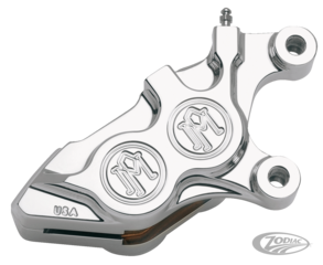 PM 4 PISTON FRONT CALIPERS FOR V-ROD, SOFTAIL, TOURING AND SPORTSTER