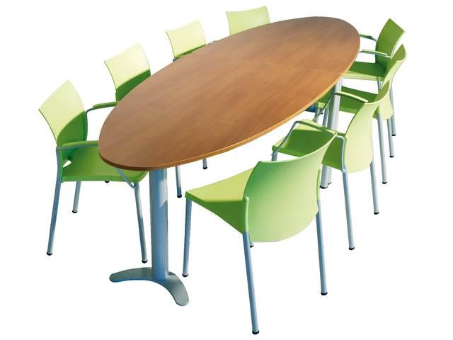 tafel luma 100 x 160 halve ellips met kolomvoet blad
