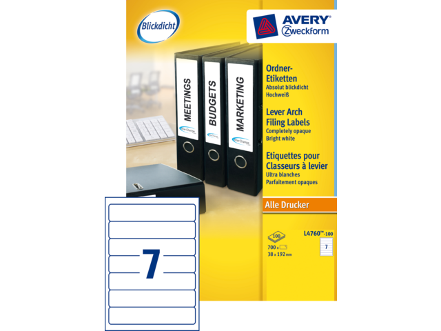 Photo: RUGETIKET AVERY ZWECK L4760-100 192X38MM 700ST
