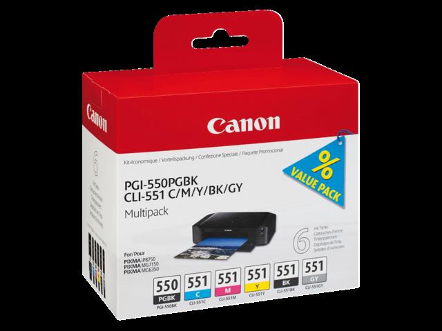 Photo: INKCARTRIDGE CANON PGI-550 CLI-551 ZWART 5 KLEUREN