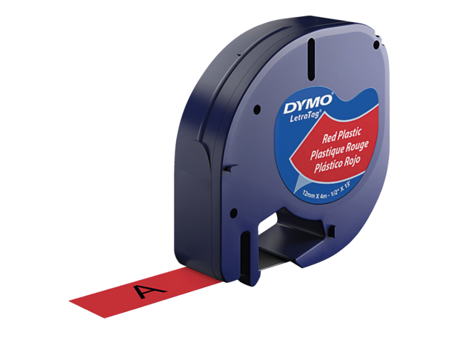 Photo: LABELTAPE DYMO 91203 12MMX4M LETRATAG ROOD/ZWART
