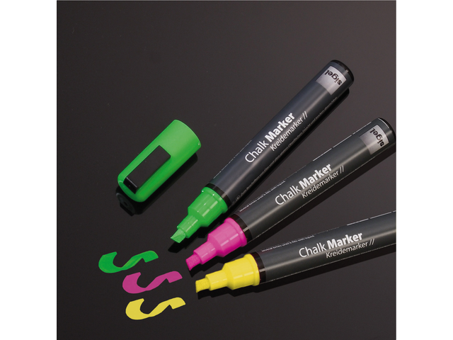 Photo: KRIJTSTIFT SIGEL 1-5MM AFWASBAAR FLUOR RZ/GL/GN