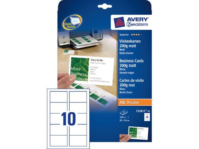Visitekaart Avery C32011 25 85x54mm 200gr 250stuks Sijbes