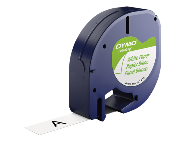 Photo: LABELTAPE DYMO 91200 12MMX4M LETRATAG WIT/ZWART