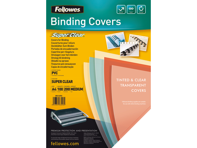 VOORBLAD FELLOWES A4 PVC 200MICRON TRANSPARANT 2