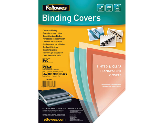 VOORBLAD FELLOWES A4 PVC 300MICRON TRANSPARANT 2